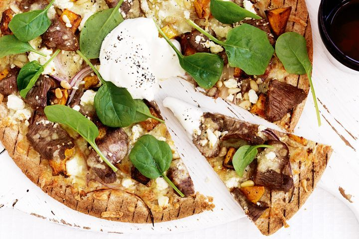 Spiced lamb, pumpkin and spinach wholemeal pizzas